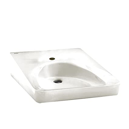 American Standard 9140.047.020 Wheelchair Users Wall Mount Bathroom Sink  With Center Hole Only,