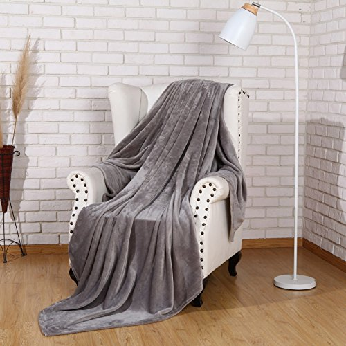 Large Double Flannel Blanket - Flannel Bed Blanket Luxury Grey Queen Size 90x90 Inches Lightweight Plush Microfiber Fleece All Season Super Soft Cozy Blanket for Bed Couch and Birthday Gift Blankets