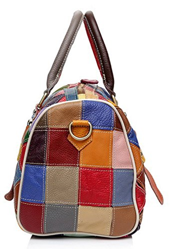 … donna borse Totes donne plaid 2 Hobo Greeniris Da pelle Borse vera le Crossbody colorati per Floral multicolore in Borse spalla z7UwqB75