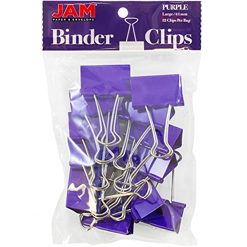 JAM Paper Binder Clips - Large - 41mm - Purple Binderclips - 12/pack