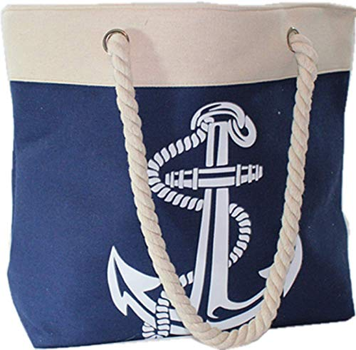 - Beach Tote Bag Navy with Large White Anchor Full Top Zipper Rope Handle Inside Pocket 20
