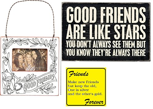 Sunroom Creations 3 Friendship Gifts Bundle - Good Friends Are Like Stars - Mailable Wooden Greeting Card, Mini Good Friends Color Your Own Frame, and Make New Friends Magnet