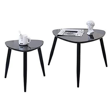 Coffee Table Black Round Nesting Table Side End Table for Living Room 100%  Enviromental Wood Coffee Table Anti-Scartch Super Shinning Surface Triganle  ...