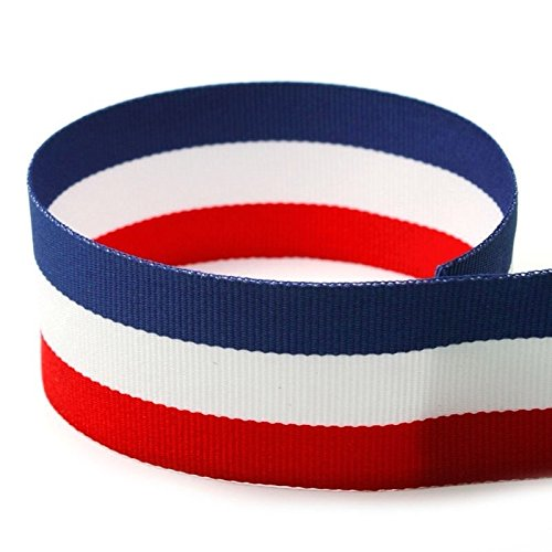 1-3/8'' Red/White/Blue Striped Grosgrain Ribbon - 100 Yards - USA Made - (Multiple Widths & Yardages Available) by The Ribbon Factory (Image #1)