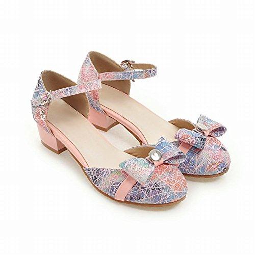 Mee Shoes Damen süß Knöchelriemchen Niedrig Schnalle Pumps Pink