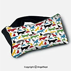 "Eyes Mask for Airplane Travel,Colorful Cats and Dogs Animal Silhouettes Domestic Pets Cartoon Canine Characters Multicolor,5.9""x9.8"",for Trips Office Sleeping Napping"