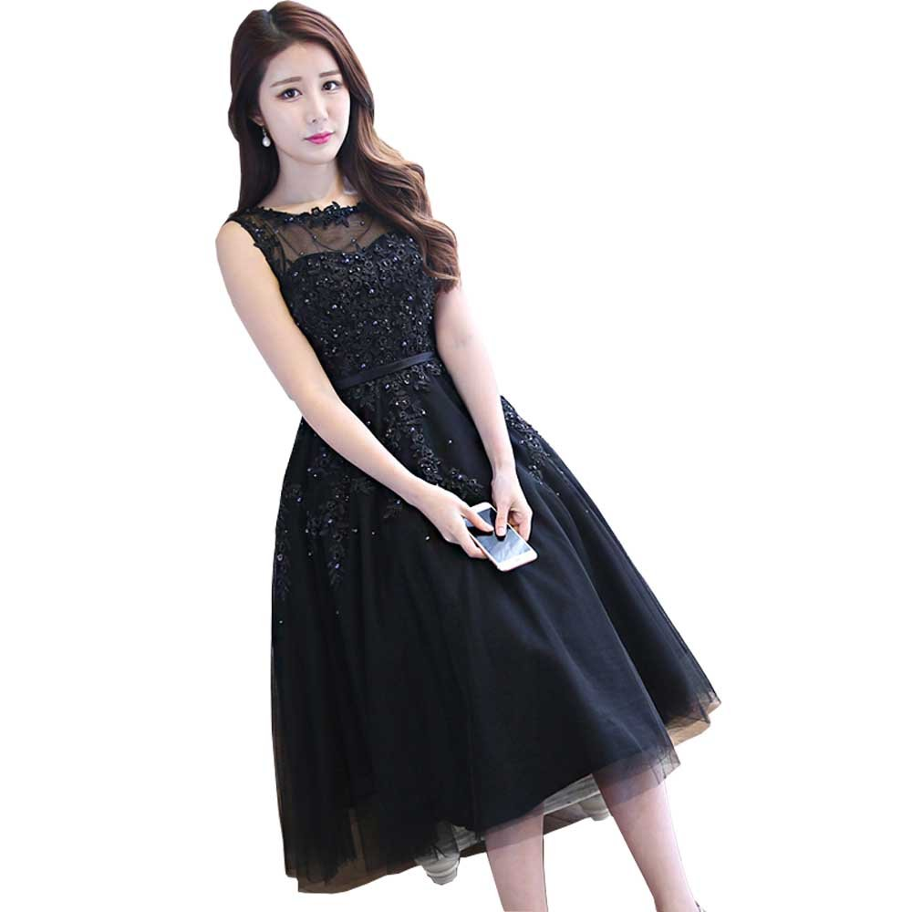 Black WDING Women Short Evening Dresses Cheap Knee Length Prom Dresses Lace Appliques with