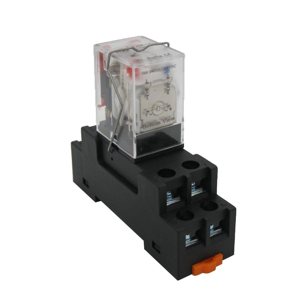 TWTADE/AC 110V Coil Electromagnetic Power Relay 10A 2DPT 8 Pins 2NO+2NC LY2NJ with YJTF08A-E Socket Base (Quality assurance for 2 years) YJ2N-LY