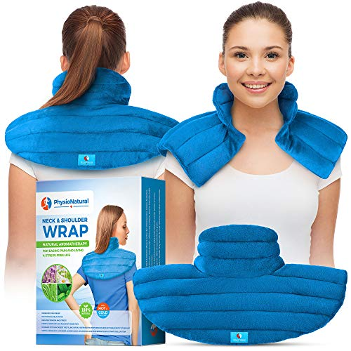 (Neck and Shoulder Wrap - Instant Relief for Tension and Stress, Migraines, Headaches, Aches, Spasms, Arthritis, Stiffness, and Tightness - Deep, Penetrating Muscle Relaxation with Herbal Aromatherapy)