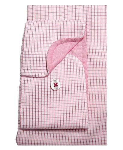 Casa Moda Modern Fit Premium Langarm Businesshemd rosé-rot Minikaro