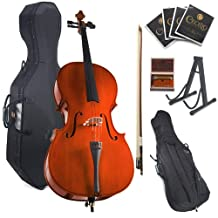 Cecilio CCO-100 Student Cello with Hard and Soft Case, Stand, Bow, Rosin, Bridge and Extra Set of Strings, Size 1/2