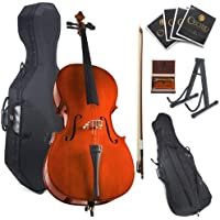 Cecilio CCO-100 Student Cello with Hard and Soft Case, Stand, Bow, Rosin, Bridge and Extra Set of Strings, Size 4/4 (Full Size)