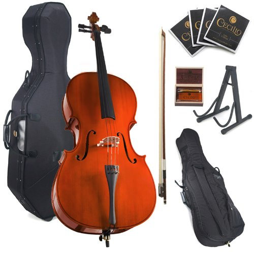 Cecilio CCO-100 Student Cello with Hard & Soft Case, Stand, Bow, Rosin, Bridge and Extra Set of Strings, Size 4/4 (Full Size) Cecilio Musical Instruments 4/4CCO-100+HC