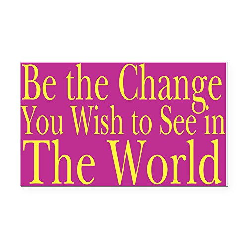 CafePress - Be The Change (Bright) Rectangle Car Magnet - Rectangle Car Magnet, Magnetic Bumper Sticker