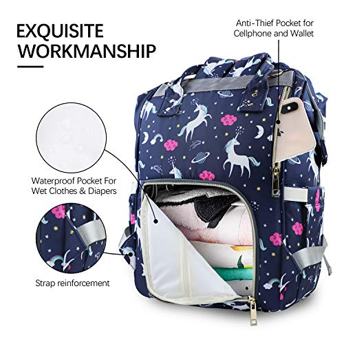 MIGER Diaper Bag Backpack for Girls Boys Multi-Function Unicorn Baby Nappy Bag