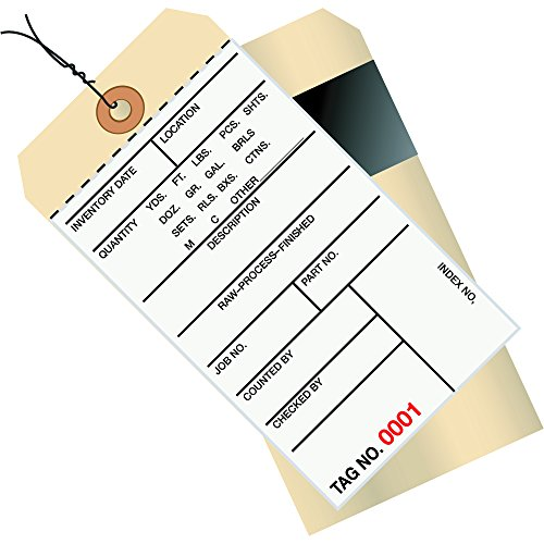 - Partners Brand PG17063 Pre-Wired Inventory Tags, 8 2 Part Carbon Style, Numbered 2500-2999, 6-1/4