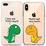 Lex Altern Couple iPhone Case Cute Dinosaur Xs Max X Xr 10 8 Plus 7 6s 6 SE 5s 5 TPU Clear Gift Funny T-Rex Girlfriend I Love You Phone Animal Cover Adorable Print Protective Matching Silicone Friend