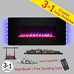 "Golden Vantage 3-in-1 36"" Wall Mount & Freestanding Convertible 22 Level Adjustable Electric Fireplace Stove w/ Remote Control Free Base from Golden Vantage"