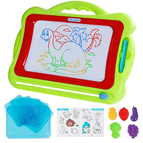 Antaprcis Magnetic Board with Stamps Sketch Boards and Album for Kids - 42×33.5cm Erasable Colorful Scribble Board, Toddlers Magna Doodle Etch Sketch Writing Pad Learning toys (Green)