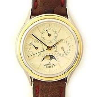 Uhr theorein Kelek Unisex t-5000-01 Schalter Stahl Quandrante weiß Armband Leder