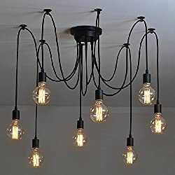 Industrial Vintage Edison Spider Light-LITFAD 8 Lights Multiple Ajustable DIY Ceiling Light Pendant light Chandelier