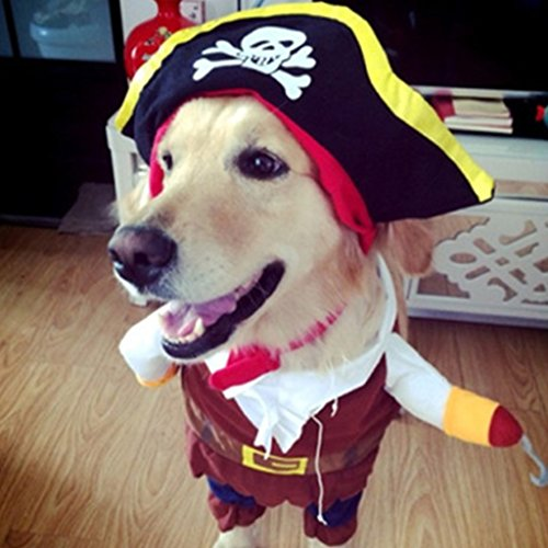 Hot Ticket Halloween Costume (Yumian Pet Pirate Outfit Dog Cat Costume Suit Puppy Clothes For Halloween (XL))
