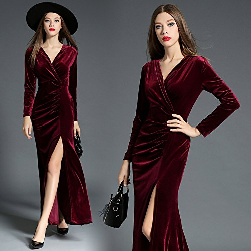 ZHUDJ Señoras _ Womens Vestidos Invierno Fina Hendidura Piso Plegable Hacia Abajo Claret