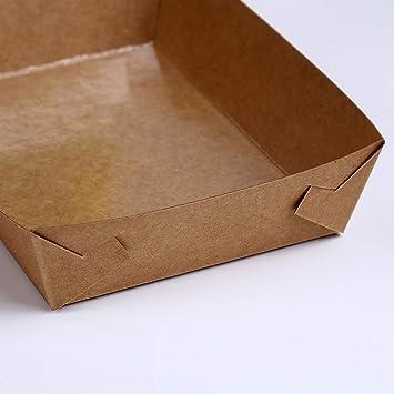 Amosfun Bandeja para Servir de Comida desechable de Papel Palomitas de maíz Papas Fritas Embalaje para Perros Calientes Papel Kraft Revestimiento Impermeable Caja de bocadillos 30pcs: Amazon.es: Hogar