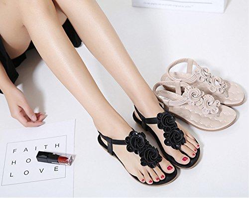 Minetom Mujer Verano Moda Dedo Del Pie Clip Sandalias Bohemia Anti-deslizante Floral Chanclas Plana Zapatos Zapatillas De Playa Negro