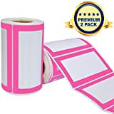 Colorful Name Tags Sicker Labels - 2 Rolls 500 Stickers in Total - 3.5 x 2' - Small Label Nametags for Jars, Bottles, Food Containers, File Folders, Party and Kids Clothes (Pink/Pink 2 Pack)