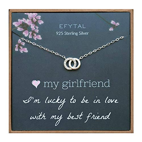 EFYTAL Girlfriend Gifts, Girlfriend Birthday Gift Ideas For Her, Romantic Sterling Silver 925 Small CZ Interlocking Circles Necklace Jewelry for Women, Cute Anniversary / Valentines Day Present (For Her Valentines Day Present)