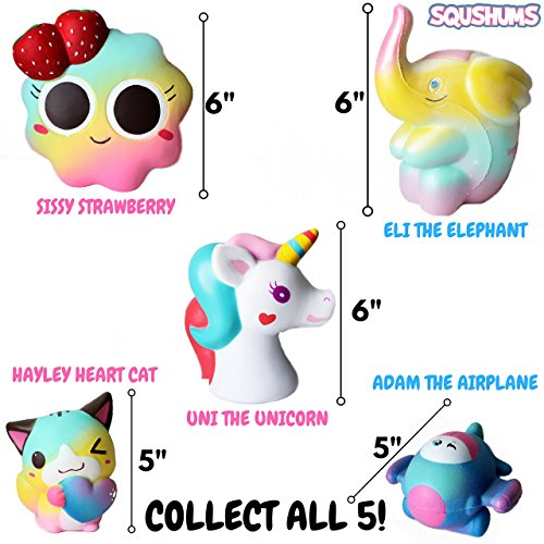 The Original Squishies By Squshums Super Slow Rising, Fruit Scented Jumbo Squishys : 1 Pc Blind Bag : Collect All 5 : Unicorn, Airplane, Heart Cat, Strawberry Cake & Elephant : FREE Carrying Case! Photo #3