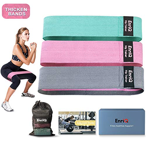 EnriQ Booty Bands Fabric Resistance Bands for Legs and Butt  Non Slip Cloth Hip Bands Elastic Workout Bands  Activate Glutes and Thighs  Made of Premium Elastic Fabric