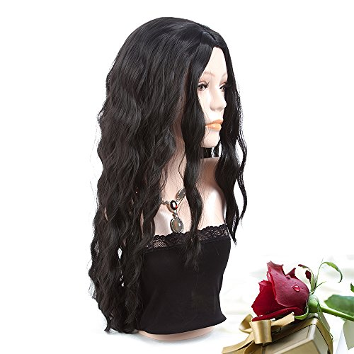 Search : Cheap Long Wavy Curly Synthetic Black Wig for Black Women 28 Inch Middle Part Loose Deep Wave Halloween Custome Wigs for African American Women (Black Wig)