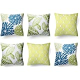 Modern Homes Cotton Floral Design Cushion Covers/Decorative Throw Pillow Covers (Blue-Green-Lime; 16x16 inch) - Set of 6