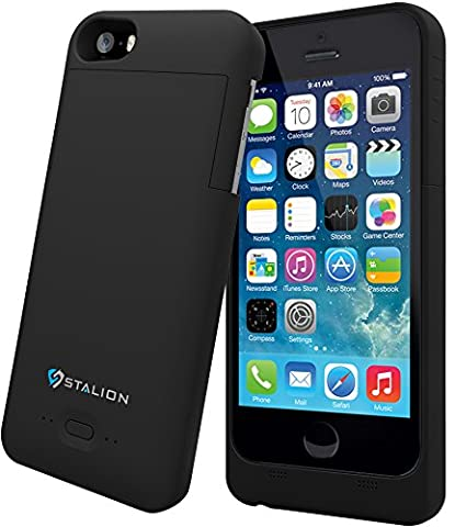 iPhone 5 5S SE Battery Case: Stalion Stamina Rechargeable Extended Charging Case 2200mAh [Apple MFi Certified](Jet (A Charging Iphone 5 Case)