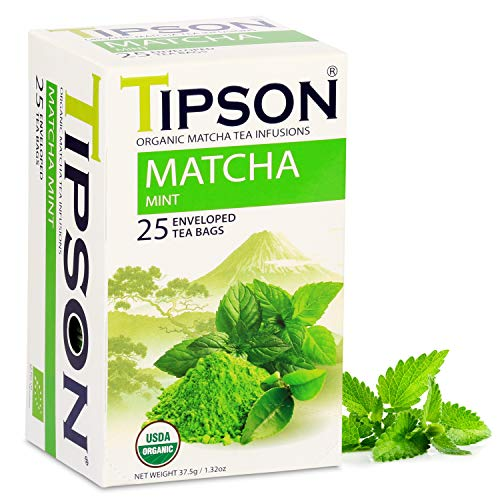 Tipson Organic Matcha Green Tea - Organic Mint - 25 Foil Enveloped Double Chambered Bags - Antioxidant Benefits - Health Energy Supplement - Keto/Paleo