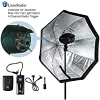Limoumbrella Softbox & Speedlite Flash Light Stand Bundle Kit With 4-Channel Radio Remote Trigger