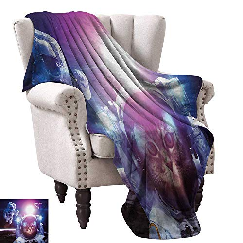 Space Cat Home Throw Blanket Astronauts in Nebula Galaxy with Eclipse in Saturn Planets Image Fall Winter Spring Living Room 60