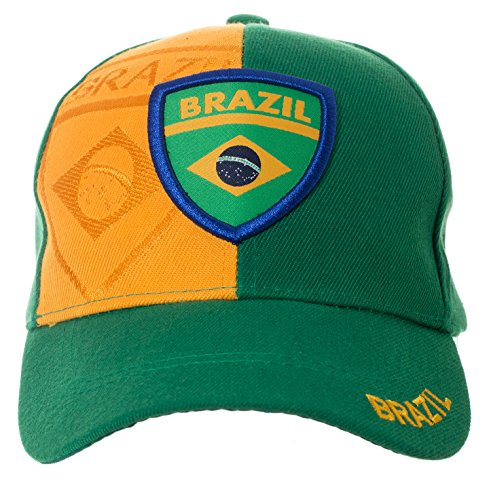 Artisan Owl Brazil Country Flag Brazilian National Pride Hat - 100% Cotton Embroidered (Brazil Flag Cap)