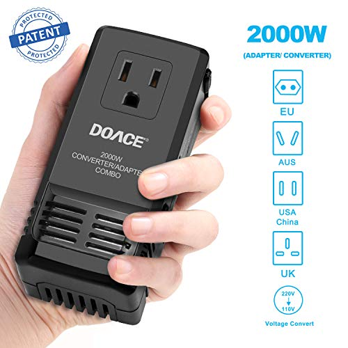 DOACE 2000W Travel Adapter and Voltage Converter Combo, Step Down Transformer 220V to 110V for Hair Dryers, US/UK/EU/AU Plugs for Worldwide Use (for US Appliances)