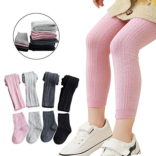 Girls Leggings Baby Toddler Tights Stockings Cable Knit Cotton Pants - 4 Pack Footless Tights & 4 Pairs Socks (1-2 Years)