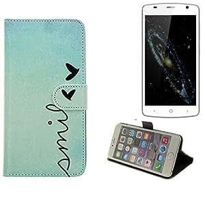 360° Funda Smartphone para ZTE Blade L5 Plus, 'smile' | Wallet case flip cover caja bolsa Caso Monedero BookStyle - K-S-Trade (TM)