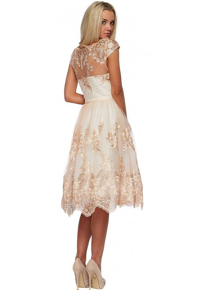 e65d9b97db2b Chi Chi Belle Rose Gold Metallic Embroidered Prom Dress UK 16 Cream/Ivory:  Amazon.co.uk: Clothing