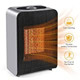 Ceramic Space Heater, Indoor 750W/1500W Ceramic Electric Heater for Home/Office/Bedroom and Bathroom with Adjustable Thermostat, Personal Desk Heater