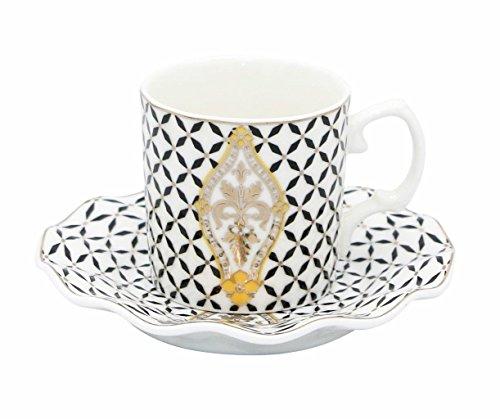 (Porcelain Bone China Espresso Turkish Coffee Set of 6 Demitasse Cups + Saucers (Royal Flower Black))