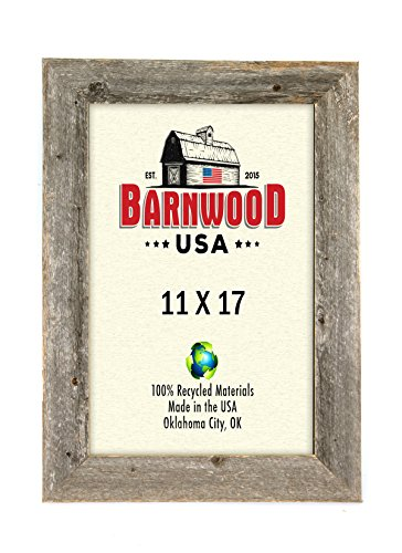 BarnwoodUSA Rustic 11x17 Inch Picture Frame 2 Inch Wide - 100% Reclaimed Wood, Weathered Gray