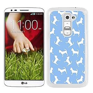 Funda carcasa para LG G2 estampado perro perros chihuahua fondo azul borde blanco