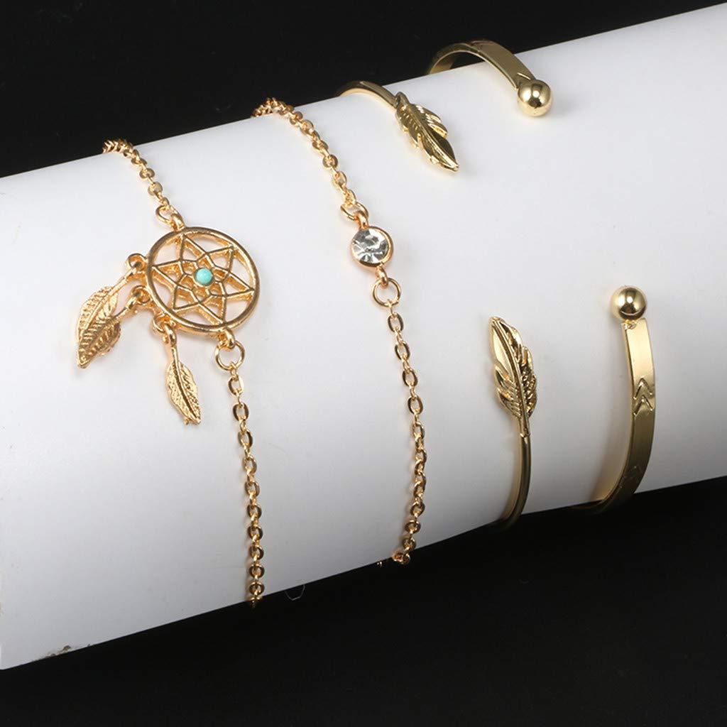 Agelloc Womens Simple Fashion Leaf Gold Bracelet Adjustable Bracelet Laies Girls Four-Piece Set Exclusive Jewellery