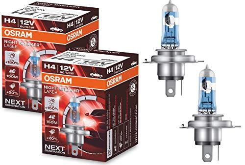 OSRAM NIGHT BREAKER LASER H4, next generation, 150% more brightness, halogen headlamp, 64193NL, 12V, passenger car, (2 lamps)